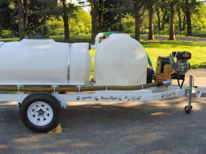 Full shot of the whole set up of the tanks and hoses. There is a 300 gallon tank on the back and a 125 gallon tank on the front of the wagon.