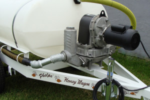 Close-up view of the Electric Diaphragm pump on a 300 gallon wagon.