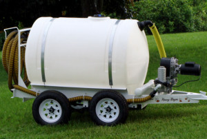 500 gallon tank on a wagon with an Electric Diaphram pump that will pump 40-50 gallons per minute.